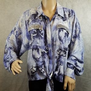 Chicos long sleeve tie waist blue hi-low blouse